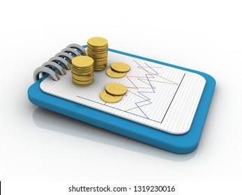 3d rendering Gold coins on document