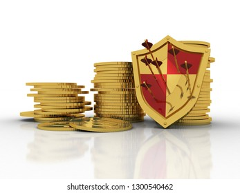 3d rendering Gold coins with shield