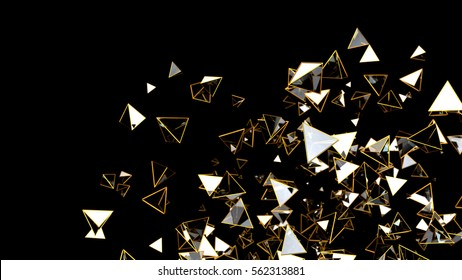 3d rendering gold and glass pyramids isolated on black background. Random macro particles