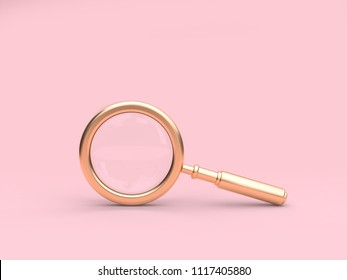 3d rendering gold magnifying glass minimal pink background