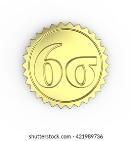 3D rendering of a gold quality mark with a six sigma symbol on a white background