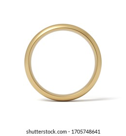 3d rendering of gold ring isolated on white background. Digital art. Gifts and celebrations. Love and relationship.