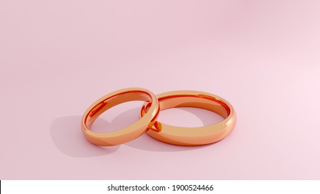 3D rendering of gold rings on pink background