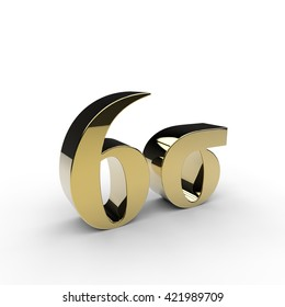 3D rendering of a gold six sigma symbol on a white background