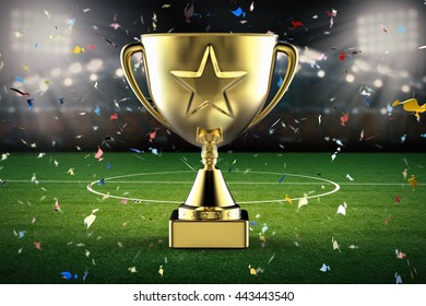 3d rendering gold star trophy with soccer stadium and confetti background