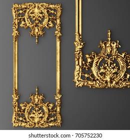 3d rendering gold stucco frame