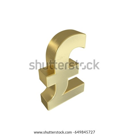 3 D Rendering Gold Symbol Pound Sterling Stock Illustration