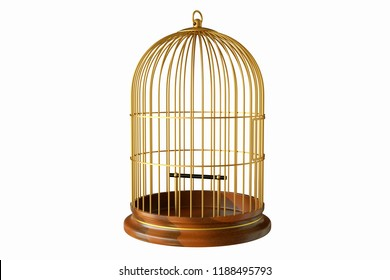 3D rendering golden birdcage with wooden base isolated on white background