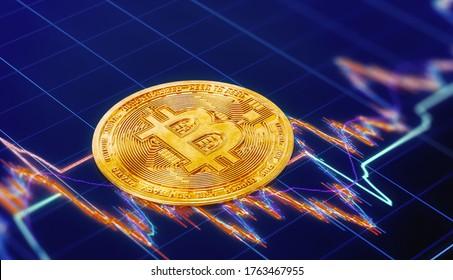 3D Rendering of Golden Bitcoin Symbol