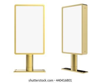 3d rendering golden blank shiny light box isolated on white