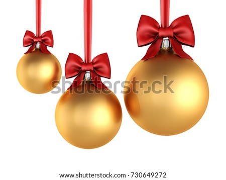 3d rendering golden christmas ball on a white background - Golden Christmas 3