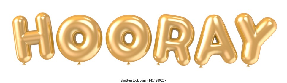 3d rendering golden color HOORAY foil balloon phrase on white background
