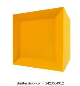3d Rendering of golden cube