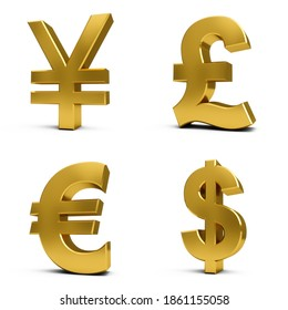 3D Rendering golden Currency Symbols Set isolated on white background