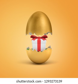 3d rendering of a golden egg shell broken into halves with a white gift box tied with a red ribbon inside. Festive season. Giving presents. Order surprise.