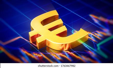 3D Rendering of Golden Euro Symbol