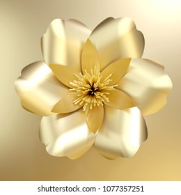 3d rendering golden flower isolated on background. gold paper cut flowers.