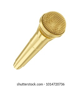 3D rendering golden microphone isolated on white background