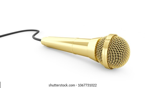 3d rendering golden microphone isolated