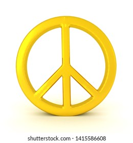 3D Rendering of golden peace symbol. 3D Rendering isolated on white.