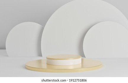3D rendering golden podium with White sphere on white background.Realistic gold stage podium.Gold metallic Mock Up Stand.