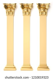 3d rendering golden Roman column. decoration of architecture. classic interior detail made of gold.