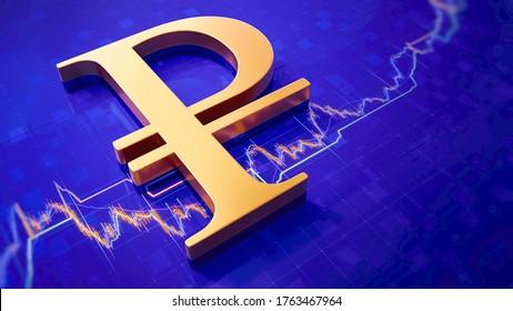 3D Rendering of Golden Russian Ruble Symbol