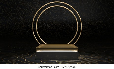 3d rendering of golden square stage, podium or pedestal with golden ring in black sparkling interior. Abstract minimalist illustration. Podium, stage or pedestal for placing your product or object
