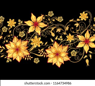 3d rendering. Golden stylized flowers, delicate shiny curls, paisley element, seamless pattern. Horizontal floral border.