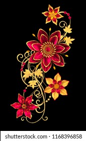 3d rendering. Golden stylized flowers, delicate shiny curls, paisley element. Decorative corner, pattern.