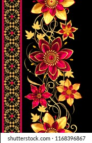 3d rendering. Golden stylized flowers, delicate shiny curls, paisley element, seamless pattern, floral border.