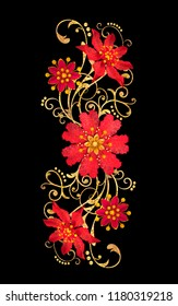 3d rendering. Golden stylized flowers, delicate shiny curls, paisley element. Decorative corner, pattern. Isolated on a black background.