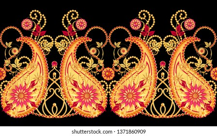 3d rendering. Golden stylized flowers, delicate shiny curls, paisley element, seamless pattern. Oriental style arabesques. Brilliant lace, Indian cucumber, pendant on a chain.