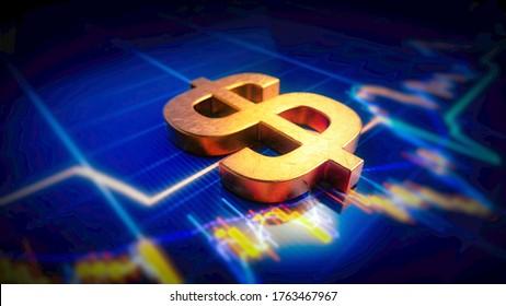 3D Rendering of Golden US Dollar Symbol