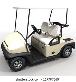 3d rendering golf car isolated on white