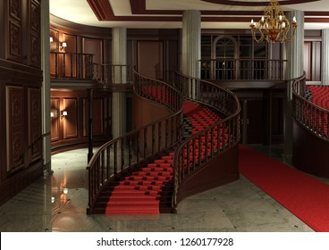 3D rendering of a grand entrance with a red carpet