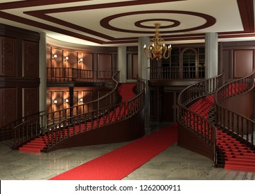 3D rendering of a grand entrance with red carpet