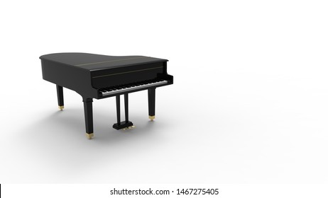 3D rendering of a grand piano isolated in white background
