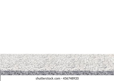 3d rendering granite table top on white background