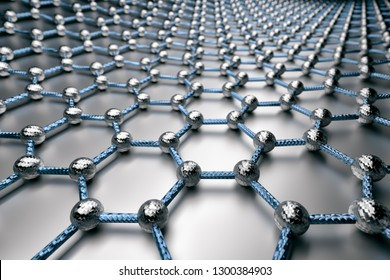 3D rendering of graphene surface, grey atoms and blue bonds with carbon structure, glossy grey surface