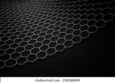 3D rendering of graphene surface, grey bonds with carbon structure, glossy surface
