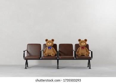 テディベアを持つベンチの3Dレンダリンググラフィックス。 空席と社会的距離のコンセプトイメージが作られた。