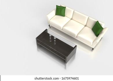 シックなソファとガラスの低いテーブルの3Dレンダリンググラフィックス。間接費の構成。家具と内装のグラフィックマテリアル。