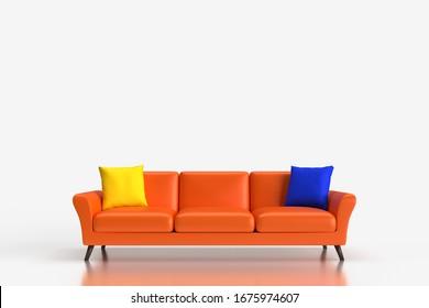 モダンなオレンジのソファの3Dレンダリンググラフィックス。家具のグラフィックマテリアル。