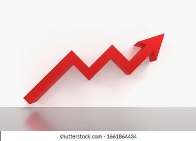 赤い上がり矢印の3Dレンダリンググラフィックス。ビジネス、株価、経済の表現。