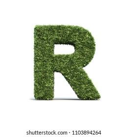 3D rendering of grass playing field alphabet