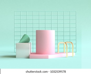 3d rendering green background pink green gold geometric shape abstract still life scene