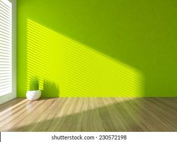 3D rendering of a green empty interior