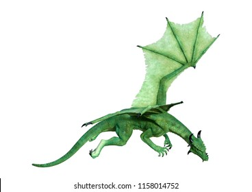 3D rendering of a green fairy tale dragon isolated on white background