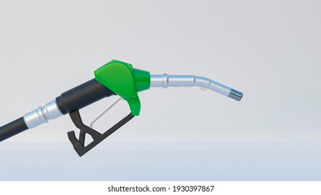 3D rendering green fuel nozzle with white blackground. Transportation hose energy energy.